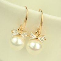 Big pearl zircon bow pendant drop earring anti-allergic earrings alloy earring