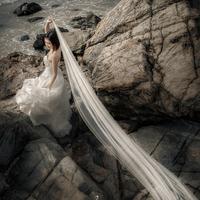 The bride married brief aesthetic romantic veil soft screen yarn wedding