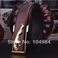 HOT 2014 men's genuine leather belt business smooth leopard buckle belts