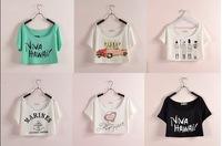 New 2014 Women's Europen summer loose bikini bat short sleeve letter heart design pullover crop top beach blouseT-shirt shirts