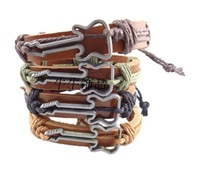 New Vintage Handmade Guitar Genuine Leather Braided Charms Bracelets Bangles Men & Women Brown 5pcs