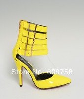Belt buckle 12cm summer Ultra high sexy sandals red bottom high heels pointed genuine leather Wedding shoes,Size:40-43 44 45 46