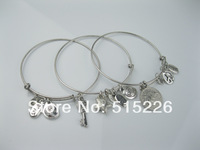 Hot sale fashion design resin rhinestone stars halfpenny keys multilayer alloy bracelets and bangles alex and ani
