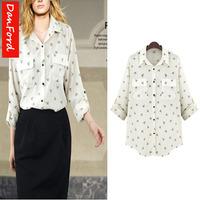 Plus Size 2014 New Brand Women Summer Fashion Blouse Printed Shirts  DFWB-041