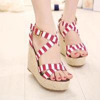 Free shipping 2014 fashion navy canvas hemp rope transpierce wedges sandals 2065 - 1