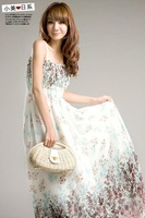 2014 New Spring Summer Bohemian Women Dress Chiffon Ankle-Length Long Sling Casual Dresses 26H19