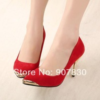 Free shipping 2014 elegant pointed toe metal ol sexy high-heeled shoes 3081