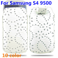 10pcs/lot free shipping Maple Leaf Flowers Leather Pull Tab Pouch Case Cover Sleeve Bag For Samsung Galaxy s4 9500