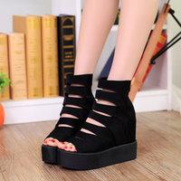 Cutout platform open toe single shoes platform super-elevation women's platform wedges sandals