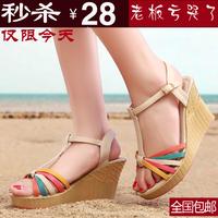 2014 women's shoes sweet color block decoration women's open toe sandals platform high heels wedges sandals female