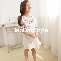 korean baby girl Children's clothing summer floral lace embroidery crochet  princess fantasy kids fashion fairy cotton dress
