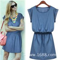 2014 new arrival women jeans dress short sleeve diamante plus size fashion summer denim dress high style woman one-piece