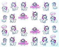 Free Shipping Water Transfer Nail Art Stickers Decal Cute Shy Pink White Cats Marie Design Decorative Foils Stamping Tools