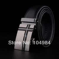 "Free shipping hot-sale high-quality Men Auto Lock Buckle Genuine Leather 1.3"" Black Belts Career Belts ff68808ML327d SM-4XL"