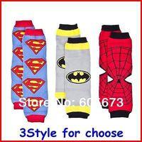 2014 New hot sale Baby Superman Batman Spiderman Super Hero Leg Warmers Infant Chevron legwarmers baby Leggings Socks