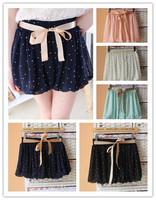 Free Shipping 2014 loose chiffon skirt pants shorts Wave point skirt-shorts FZG1136