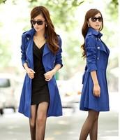 2014 New Fashion Women Slim Coat for Women Female Outerwear Medium-long Double breasted Slim Plus size