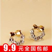 Min $10 Accessories gold plated bow rhinestone inlaying alamyrods cute stud earring earrings earring earrings female