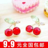 Min $10 Accessories red cherry stud earring the bride diamond crystal vintage earrings female earring