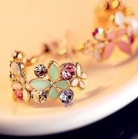 Min $10 1253 delicate butterfly sparkling diamond flower aesthetic elegant wreath earrings stud earring accessories