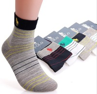 5pairs new 2014 high quality spring summer casual male socks polo Men Brand Cotton Socks  colored striped polo Socks for men
