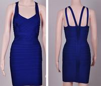 2014 new women sexy black blue spaghetti strap deep v neck french collection designer bodycon hl bandage celebrity evening dress