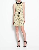 2014 New Fashion Ladies Cute Birds Print Chiffon Dress Peter Pan Collar Slim Party Dress Brand Designer Dress Free Shipping