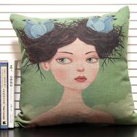 Hot Sale Square Cotton Linen Decorative Novelty Throw Pillow Cover Cushion Case, Vintage Bird Nest Girl