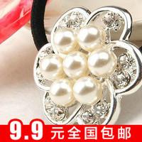 Min $10 0164 sweet mm style pearl flower oversized rhinestone headband hair rope rubber band
