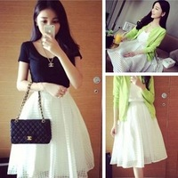 summer 2014 new spring fashion women   emperorship slim plaid fairy bust skirt gauze  free shipping