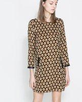 2014 New Fashion Ladies Vintage Geometric Pattern Dress Faux Leather Spliced Three Quarter Sleeve Casual Dress Free Shipping
