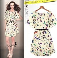 2014 New Fashion Bird Print Short-sleeve Dress Animal Printed Casual O-neck Dresses For Women Free Shipping-H288