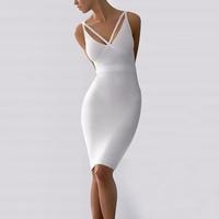 New Fashion Women's White V-Neck Bodycon Bandage Celebrity Evening Dress White Dress
