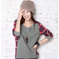 2014 Free shipping Autumn Women's Hot Sale O-neck Plaid Patchwork Irregular Loose Long-sleeve T-shirt-H259