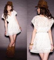 2014 New Arrival Fashion Party Club Women White Deep V Neck Vestido Lace Dresses Short Sleeve -H287