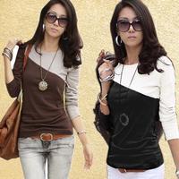 2014 Free Shipping Hot Selling Autumn Patchwork Long-sleeve T-shirt Basic Shirt  Slim Round Neck T-shirt-H262