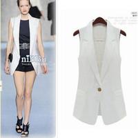 2014 spring and summer fashion medium-long slim suit vest sleeveless female vest small cape
