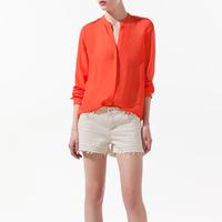 Hot Sale!! 2014 Summer New Fashion Womens Chiffon Rivet Shoulder Style Simple Casual Blouse T Shirt Long Sleeve Free Shipping