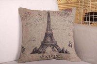 18'' Square Shape Cotton Linen Paris Eiffel Tower Decorative Thick Pillow Cushion Cover Pillow case