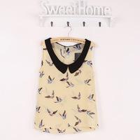 2014 New Arrival Fashion Womens' Birds Print Chiffon Blouse High Quality Sleeveless Shirt Vintage Casual Slim Tops Free Shipping