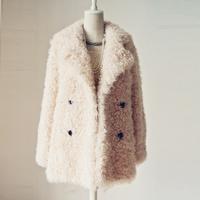 2014 fur collar wool coat medium-long suit berber fleece fur coat overcoat WTP6