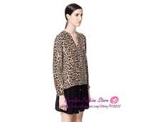 2014 New Fashion Ladies' Sexy Leopard Print V Neck Shirt Foldable Long Sleeve Casual Slim Shirts Brand Design Free Shipping