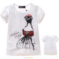 Wholesale 2014 New Girls White Cotton Short Sleeve T-Shirts Kids Cartoon Princess Printed T Shirt Children Fashion Boutique Tops