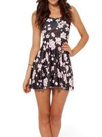 2014 Summer Hot Sale Fashion Women's Pleated Plum Flower Digital Print Galaxy Black Milk Skater Dress Free Shipping