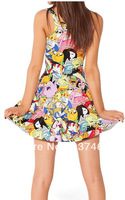 2014 Newest Women Digital Print Pleated Adventure Time Bro Ball Reversible Skater Dress  All Code Size Free Shipping