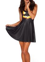 2014 Summer New Fashion Women's Pleated Jack & Lantern Digital Print Galaxy Black Milk Skater Dress Free Shipping