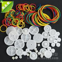 DIY Model Parts Belt pulley + Rubber Band Plastic Pulley Blocks -Total 40pcs(diameter:6/9/18/24mm)