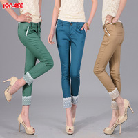 Summer roll-up lace hem ankle length trousers female skinny pants casual pants 27 to 34