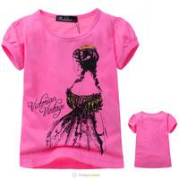 Wholesale Next Girls Summer Rose Red Brand Short Sleeve Tee Shirt Children Cartoon Princess Printed Cotton T Shirt Free Shipping