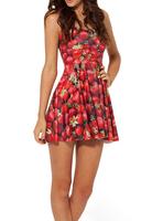 Spring 2014 High Quality Fashion Hot Sale Women Pleated Strawberry Digital Print Galaxy Black Milk Skater Dress Free Shipping